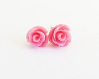 Tiny Raspberry Rose Stud Earrings- Surgical Steel or Titanium Post Earrings- 7mm
