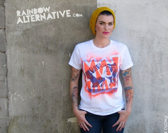 80s t-shirts Madonna tee hand stenciled & spray painted tshirt by Rainbow Alternative