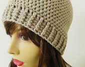Womens crochet Beanie crochet Hat Cap - Oatmeal