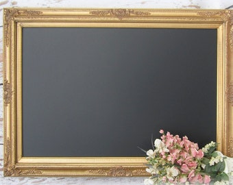 """Large GOLD Framed CHALKBOARD For Sale Dining Room Decor Furniture X- LaRGE Huge Magnetic Chalkboard 44""""x32"""" Wedding Signs Gold Menu Board"""