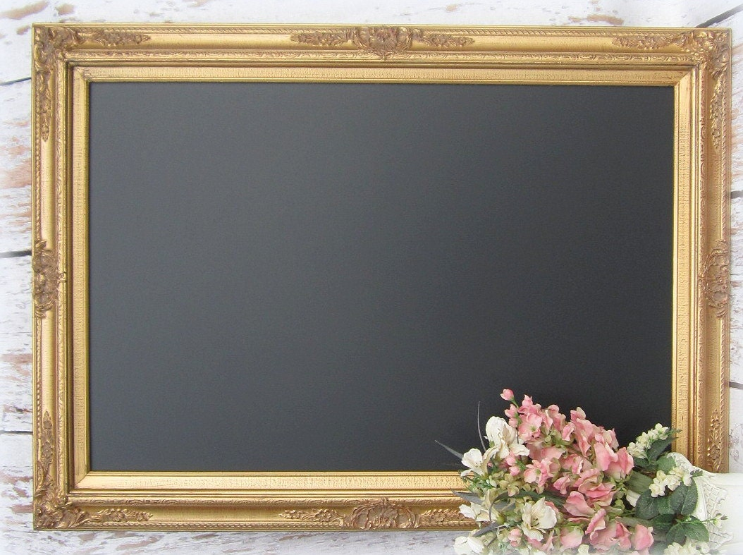 Large gold framed chalkboard for sale dining room decor for Large a frame