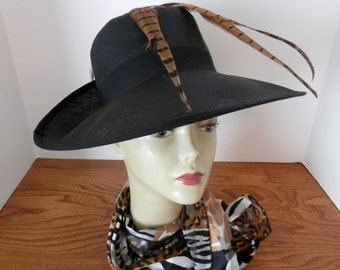 Vintage Mister T HIgh Fashion Hat- Mister T Feather Black Hat- Wide Brim Black Hat