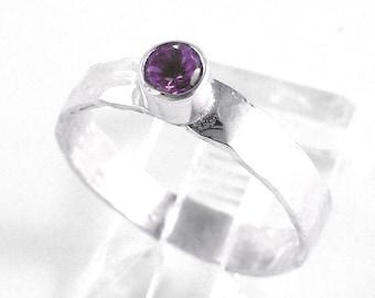 Amethyst Bezel Set Sterling Silver Stacking Ring