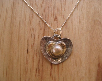 Pearl Heart Necklace, Pretty Silver Heart Necklace, Pearl Pendant, Delicate Heart Necklace, Bridal Jewelry, Gold and Silver Heart Pendant