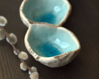 Water droplets porcelain tray.  Triple ring tray in aqua and sepia.