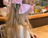 Oversized Huge Pastel Baby Pink Hair Bow Rockabilly Pin Up Girl Hair Clip