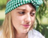 Green Gingham Wire Headband, Dolly Bow, 1950s Pin Up Rockabilly Hair Wrap, Twist Hair Scarf, Bandana, Headband, Hair Tie
