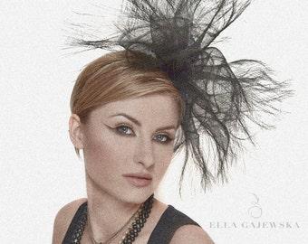 Black Crinoline Headpiece Oversized Spiked Women Facinator Hat Lightweight Headpiece Headband Accessory Wedding Ella Gajewska HATS