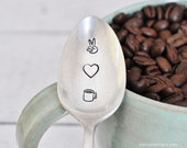 Peace Love & Coffee - Vintage Hand Stamped Spoon for Coffee Lovers