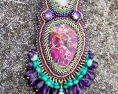 Reserved. Mardi Gras Sea Sediment Jasper and Chrysoprase Beadwork Necklace