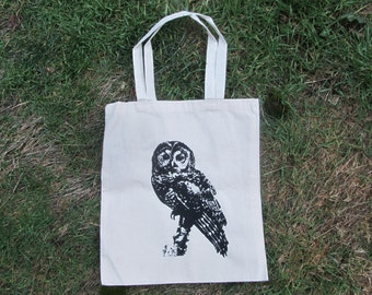 Owl Tote Bag - Northern Spotted Owl - Natural Color Canvas Tote, off white beige sturdy - forest, trees, cascadia, wise hoot, bookbag, purse