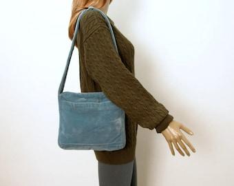 Vintage 1970s Handbag Soft Blue Velveteen Handmade OOAK Shoulder Bag
