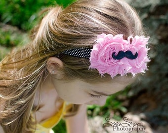 Mustache Shabby Chic Pink and Black Double Flower Headband - Baby -  Newborn - Infant - Toddler - Girl - Teen - Adult - Photo Prop