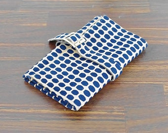 Vintage Polka Dot Wallet, Navy Blue and Beige Dotted Wallet, Ladies Wallet, Trifold Wallet, Buckle Wallet