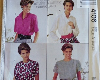 Vintage 80s Sewing Pattern, Mccalls 4106,  1980s Button Down or Pullover Blouse, Long Sleeve Short Sleeve Top, XS B30.5 B31.5 B32.5