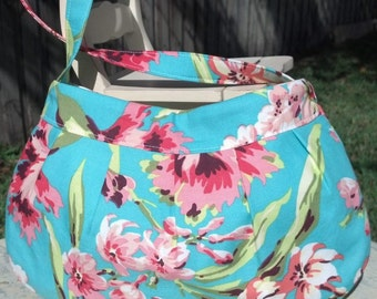 Buttercup Purse Featuring Amy Butler Bliss Bouquet Small Bag Aqua Floral