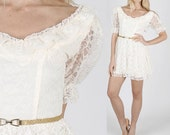 Vintage 70s Sheer Lace mini dress deco prairie boho wedding tiered cocktail party S