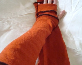 Womens Rich Rust Merino wool extra Long Fingerless gloves