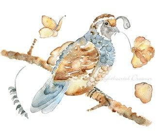 Quail Print, Bird Wall Art, Watercolor Bird Print, Autumn Wall Decor, Slate Blue, Brown, Home Decor, Print Bird Painting, Cottage Wall Art