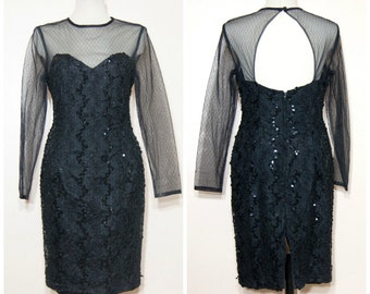 Sheer Black Sequin Dress Open Back 80s Lace Medium Mesh Party Fancy Formal Long Sleeves