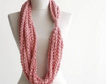Black Friday Cyber Monday Pink scarf - infinity scarf - soft pastel crochet cowl - loop neckwarmer - gift for women under 20