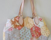 SALE---Hexagon Patch Bag, Handmade Quilted Bag, Vintage Style Bag, Tote, Fabric Bag, Patch Bag