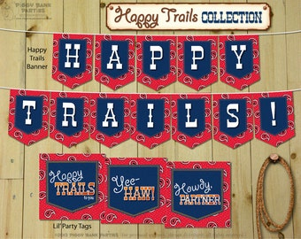 HAPPY TRAILS Collection : Print at Home Farewell, Goodbye, Retirement and Moving Party Decorations | Digital Files - Instant Download