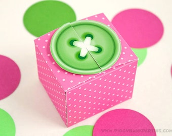 Sew Cute Button Favor Box : Lime Button with Polka Dots // DIY Printable Cute as a Button Gift Box PDF - Instant Download