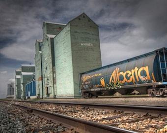 grain elevator photography, fine art photo, railway avenue in warner alberta, hopper car, alberta wheat pool