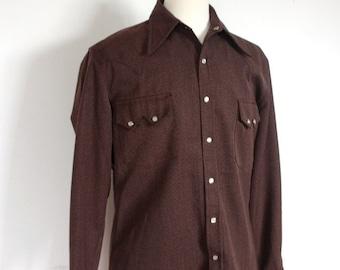 Vintage 1960's Brown Rockabilly Western Shirt