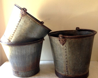 Large Vintage French Zinc Farm Pail