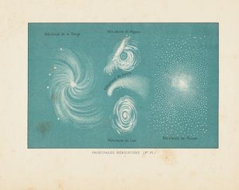 1891 Antique ASTRONOMY print, MAIN NEBULAE, Virgin, Pegasus, Leo, Tucan