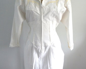 Vintage 80s NEIMAN MARCUS Country WESTERN Cotton White Dress Rodeo Rockabilly Cowgirl
