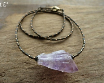 Rough Amethyst Crystal Necklace, rustic Bohemian style raw purple gemstone February birthstone jewelry with seed bead chain