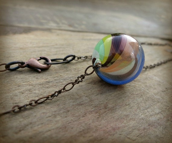 Glass Bubble Necklace, marble necklace in peach burgundy, yellow, pale green, white, and cornflower blue on antiqued copper chain
