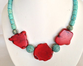Red magnesite slices and turquoise necklace