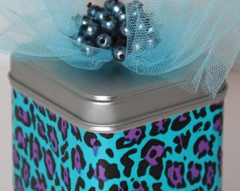 Decorative Tin Can Blue and Purple Leopard