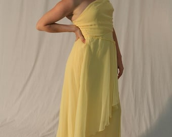 Vintage 80s Yellow Gown: The Yellow Goddess Dress