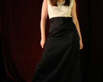 Vintage 60s 70s Maxi Dress, Black and White Gown