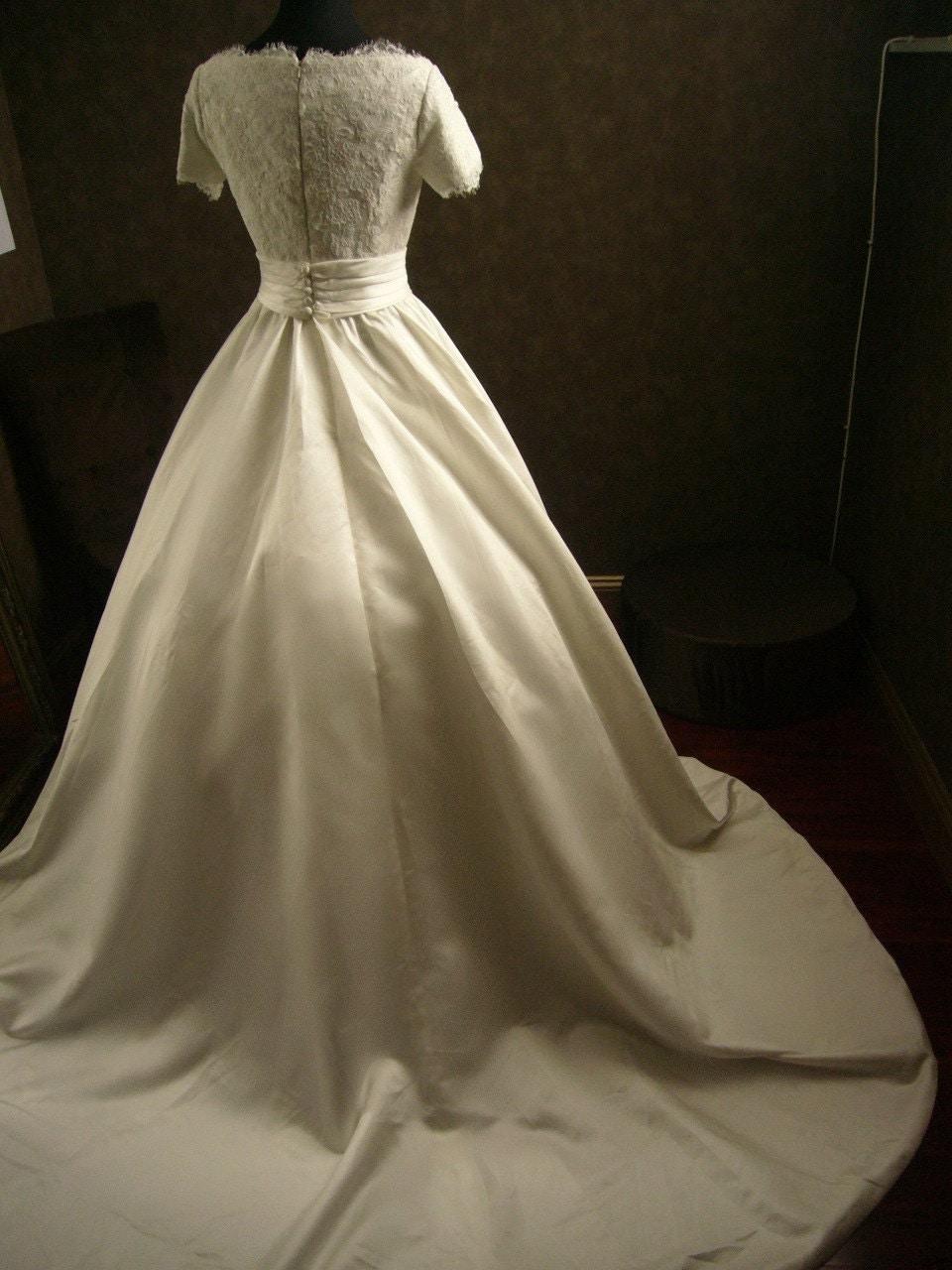 Custom Made Wedding Dress with Alencon French Lace Gathered