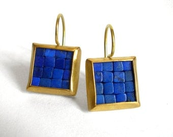 Mosaic Earrings - Gold Lapis Lazuli Earrings - Square Earrings - Gold And Blue Earrings - Blue Gemstone Earrings - Statement Earrings