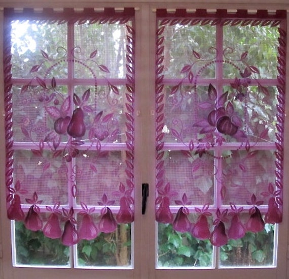 French Country Kitchen Curtains: Aubergine Lace Curtains Pair French Curtains By