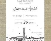 Washington DC skyline save the date card, Washington, District of Columbia skyline; SAMPLE ONLY