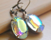 Crystal AB Czech Glass Earrings, Antique Brass Leverback, Estate Style Vintage Clear Glass Oval