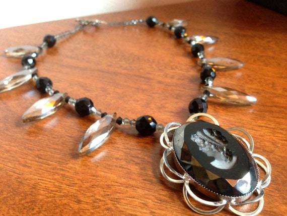 Black and Grey Cameo Necklace