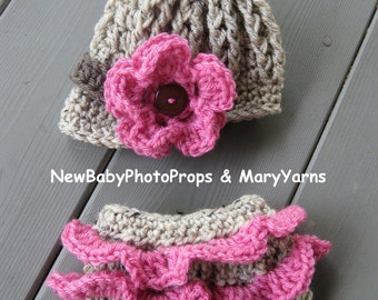 Newsboy Beanie HAT Newborn and Girl Diaper Cover -  Photography Baby Prop - all babies Photoprop Set 2 pc Infant Girl Boy Photo Shoot