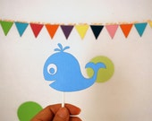 Whale Cupcake Toppers, baby blue Whale Party cupcake toppers, whale baby shower, A781