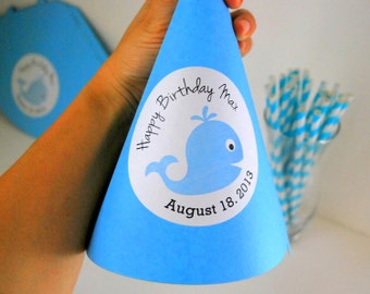 6 Party Hats, Whale Birthday Personalized Party Hats , TO be assembled CardStock party hats , whale baby shower,  A838