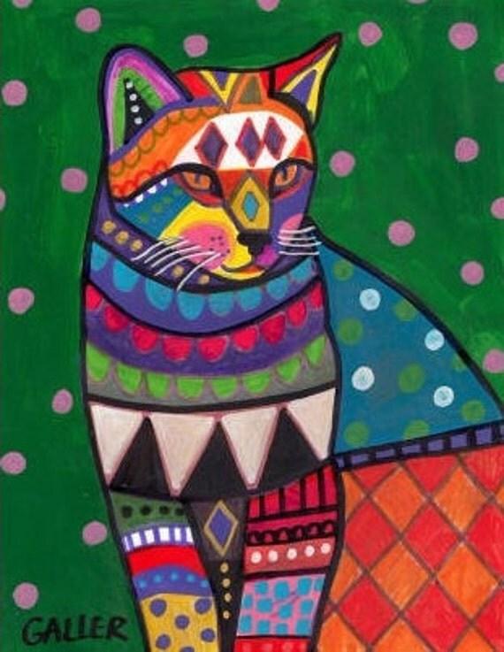 50% Off - Cat Art - FOLK ART CAT print Ginger Orange Cat Poster by Heather Galler (Hg256)