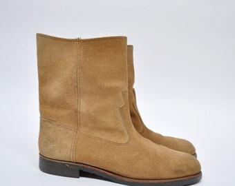 vintage leather boots suede boots cowboy boots PECOS size 10 1/2 D
